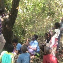 9. Macate students learning the names of trees from Trainer Paulo